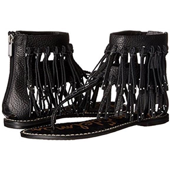 25e2571343a1 SALE New Sam Edelman Black Griffen Fringe Sandals
